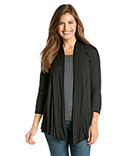 AGB® Petites' Draped Open-Front Cozy Cardigan