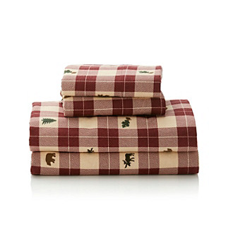 LivingQuarters Heavy-Weight Lodge Patch Flannel Sheet Sets