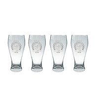 Lauren Ralph Lauren Classic Crest Barware Set of 4 Pilsner Glasses