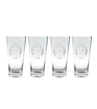 Lauren Ralph Lauren Classic Crest Barware Set of 4 Highball Glasses