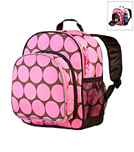 Wildkin Big Dots Pack 'n Snack Backpack - Pink/Mocha