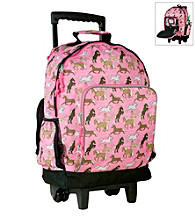 Wildkin Horses in Pink High Roller Rolling Backpack - Pink