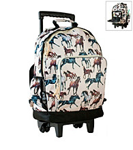 Wildkin Horse Dreams High Roller Rolling Backpack - Brown