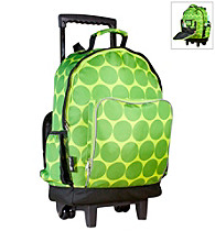 Wildkin Big Dots High Roller Rolling Backpack - Green/Yellow