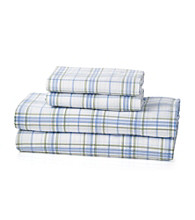 LivingQuarters Heavy-Weight Blue Plaid Flannel Sheet Sets