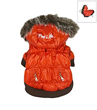 Pet Life™ Metallic Fashion Parka with Removable Hood