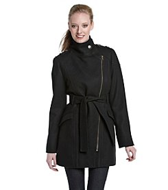 Nine West® Black Belted Asymmetrical Moto Walker Coat