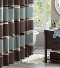 Madison Park Lincoln Square Shower Curtain by JLA Home - Blue/Brown