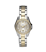 Fossil® Mini Riley Two Tone Watch with Silvertone Dial