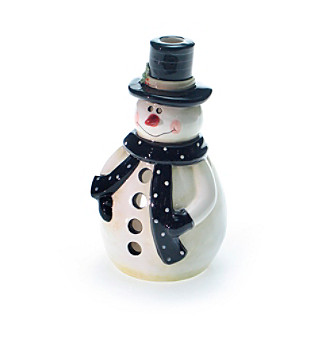 Certified International Snow Pals Snowman Tealight Holder - White