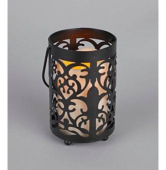 Gerson Ivory LED Candle with Metal Lantern