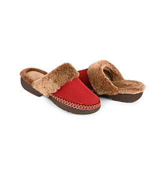 Isotoner® Woodlands Fur Chunky Clog Slippers