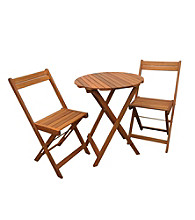 Merry Products, Corp. Stained Natural Bistro Table & Chair Set