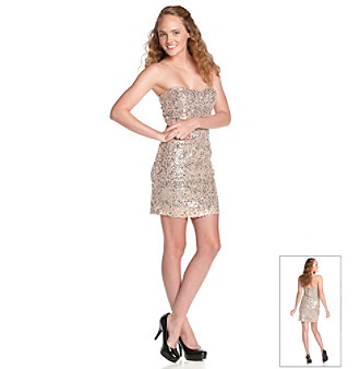 Trixxi® Juniors' Champagne Strapless Sequined Dress