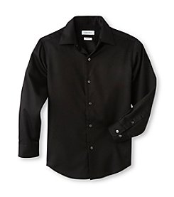 Calvin Klein Boys' 8-20 Black Long Sleeve Sateen Dress Shirt