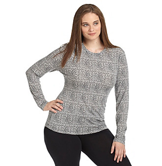 Cuddl Duds® Plus Size Softwear with Stretch Crewneck Long Sleeve Top - Cheetah