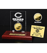 24KT Gold-Plated Chicago Bears Super Bowl Champs Coin in Etched Acrylic by Highland Mint