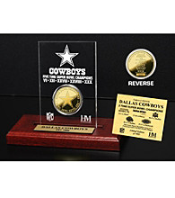 24KT Gold-Plated Dallas Cowboys Super Bowl Champs Coin in Etched Acrylic by Highland Mint