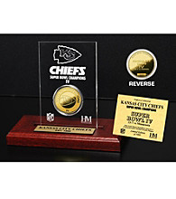 24KT Gold-Plated Kansas City Chiefs Super Bowl Champs Coin in Etched Acrylic by Highland Mint