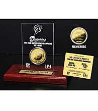 24KT Gold-Plated Miami Dolphins Super Bowl Champs Coin in Etched Acrylic by Highland Mint