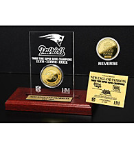 24KT Gold-Plated New England Patriots Super Bowl Champs Coin in Etched Acrylic by Highland Mint