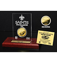 24KT Gold-Plated New Orleans Saints Super Bowl Champs Coin in Etched Acrylic by Highland Mint