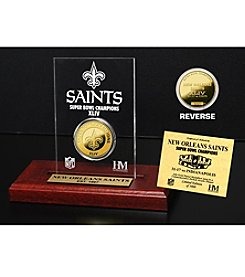New Orleans Saints Super Bowl Champs 24K Gold-Plated Coin in Etched Acrylic