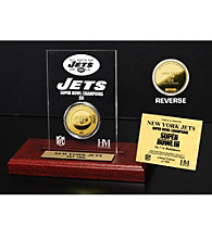 24KT Gold-Plated New York Jets Super Bowl Champs Coin in Etched Acrylic by Highland Mint