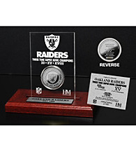Silver-Plated Oakland Raiders Super Bowl Champs Coin in Etched Acrylic by Highland Mint