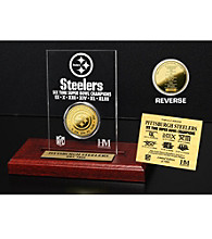 24KT Gold-Plated Pittsburgh Steelers Super Bowl Champs Coin in Etched Acrylic by Highland Mint