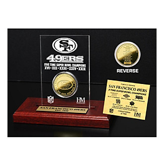 24KT Gold-Plated San Francisco 49ers Super Bowl Champs Coin in Etched Acrylic by Highland Mint