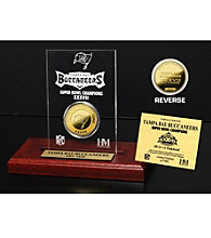 24KT Gold-Plated Tampa Bay Buccaneers Super Bowl Champs Coin in Etched Acrylic by Highland Mint