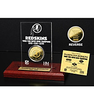 24KT Gold-Plated Washington Redskins Super Bowl Champs Coin in Etched Acrylic by Highland Mint