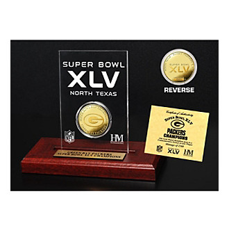 Super Bowl XLV Champions 24K Gold-Plated Coin in Etched Acrylic by Highland Mint