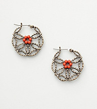 Nine West Vintage America Collection® Brass Ox Round Floral Earrings