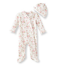 Little Me® Baby Girls' Cabbage Rose Print Footie - Ivory/Pink