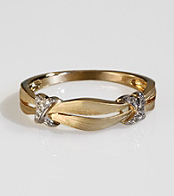 Effy® 14k Gold .05 ct. t.w. Diamond Ribbon Band Ring - Yellow Gold
