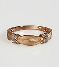 Effy® 14k Gold .05 ct. t.w. Diamond Ribbon Band Ring - Rose Gold