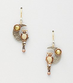 Silver Forest® Owl on Crescent Moon Earrings - Silvertone/Copper