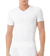 Calvin Klein Men's White Compression V-Neck Tee