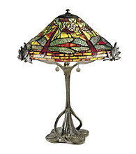 Dale Tiffany Floral Dragonfly Table Lamp