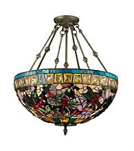 Dale Tiffany Floral Dragonfly Tiffany Inverted Fixture