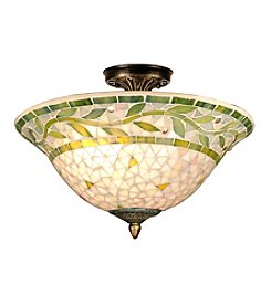 Dale Tiffany Green Leaf Mosaic Semi Flush Mount