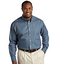 Oak Hill® Men's Big & Tall Continuous Comfort® Blue Grid Sport Shirt