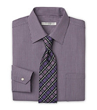 Geoffrey Beene® Men's Big & Tall Neat Sateen Eggplant Dress Shirt