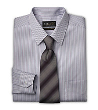 Gold Series™ Men's Big & Tall Wrinkle-Free Cool & Dry Stripe Dress Shirt - White/Purple