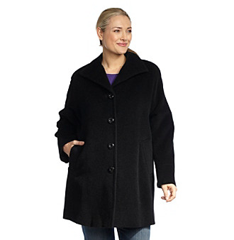 Jones New York® Plus Size Black Alpaca-Blend Coat