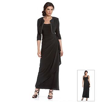 Alex Evenings® Black Side-Wrap Long Dress with Rhinestone-Trimmed Bolero Jacket