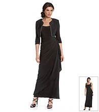Alex Evenings® Black Side-Wrap Long Dress with Rhinestone-Trimmed Bolero Jacket