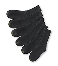 GOLD TOE® Men's 6 Pack Black Ultra Terry Crew Socks
